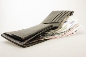Piniginė su eurais